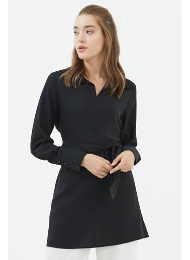 Sementa Gömlek Yaka Belden Bağlamalı Tunik   Siyah